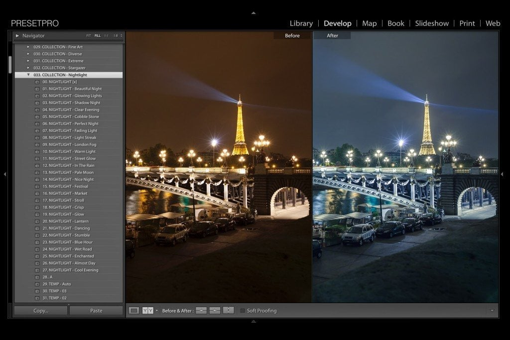 Lightroom Presets for Night Photography in Paris