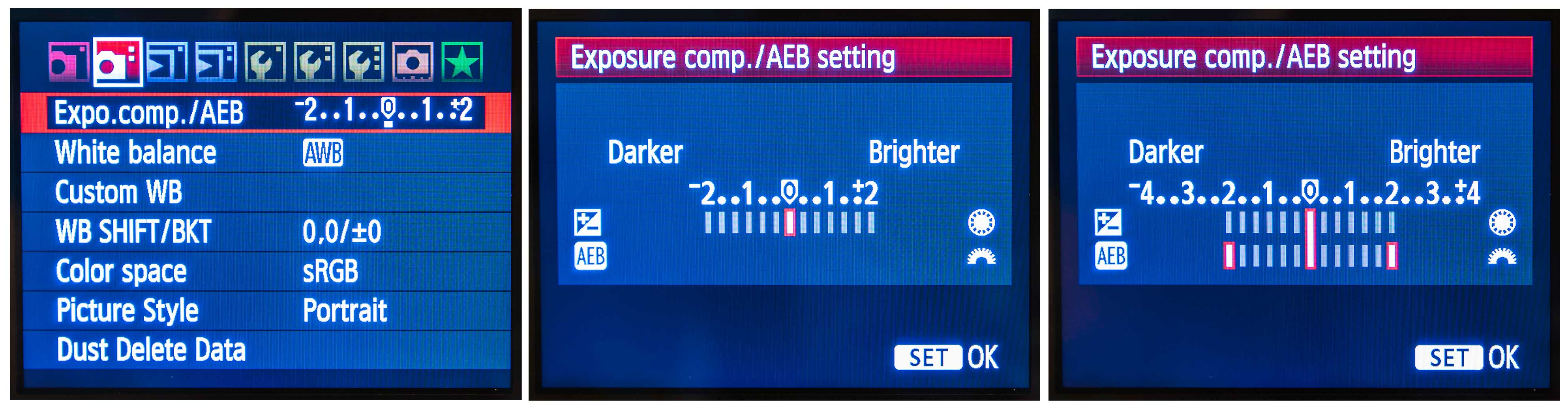 Exposure Bracketing Canon Menu